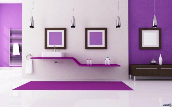 фиолетовые обои в стиле минимализма