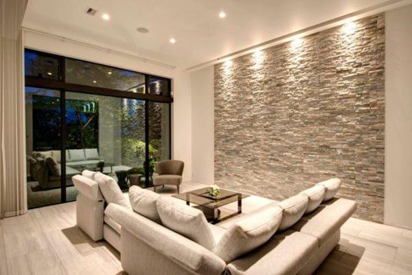 каменные обои в интерьере в стиле хай-тек