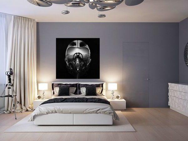 серые обои в спальне в стиле поп-арт