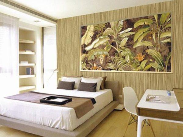 Бамбуковые обои в интерьере спальни