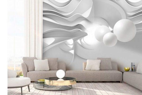 белые обои с абстрактным рисунком