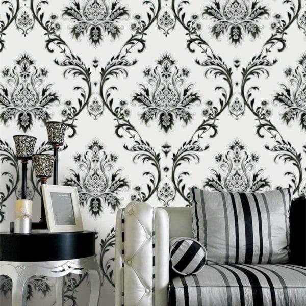Инь и ян: обои с белыми цветами на черном фоне