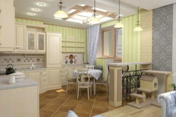 Кухня с комбинированными обоями