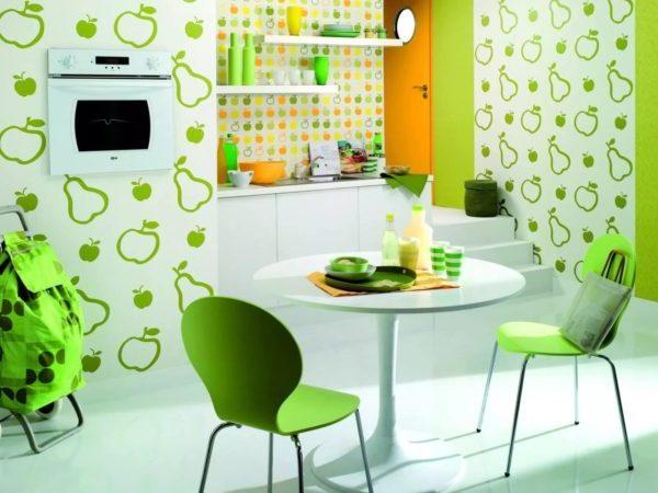 дизайн кухни с комбинированными обоями