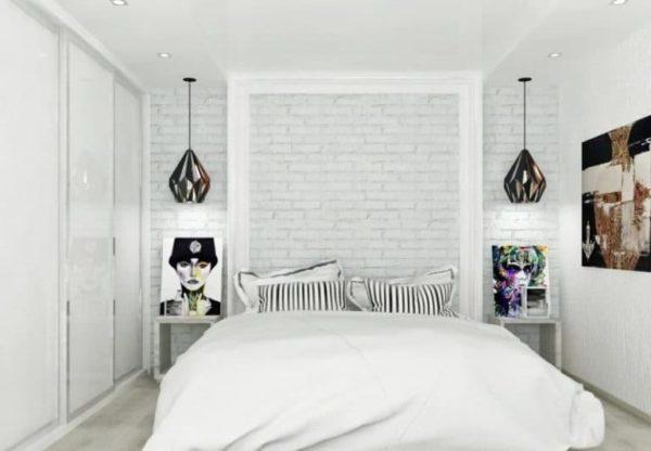 обои под белый кирпич в спальне