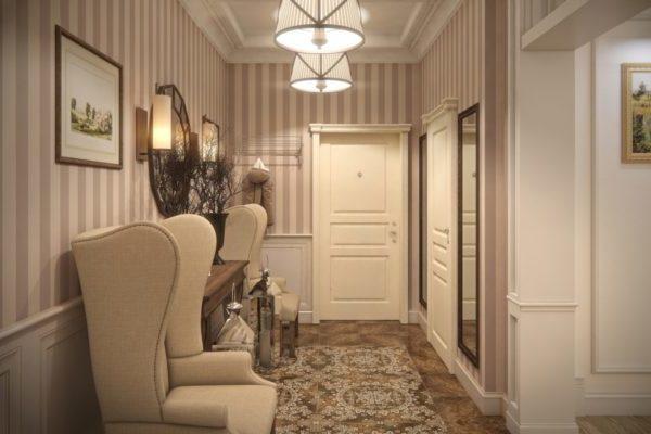 Как правильно выбрать обои в полоску для коридора и прихожей