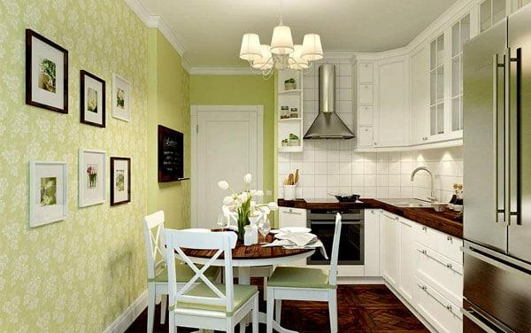 Салатовые обои на кухне