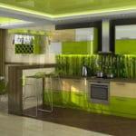 Зеленые обои для оформления кухни