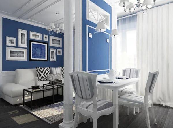 Бело-синие обои
