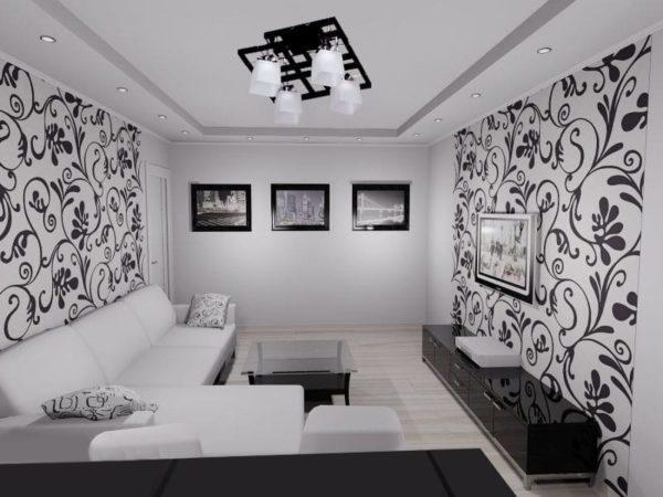Комната с белыми обоями