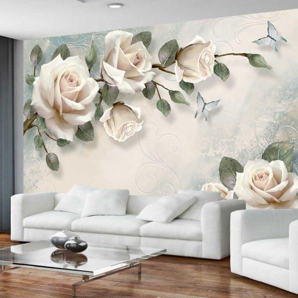 обои с белыми цветами