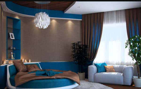 Синие обои в гостиной