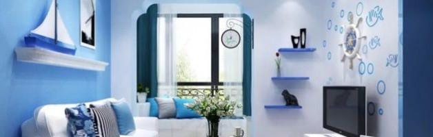 Голубые обои в интерьере гостиной