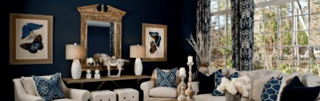 Синяя отделка в гостиной